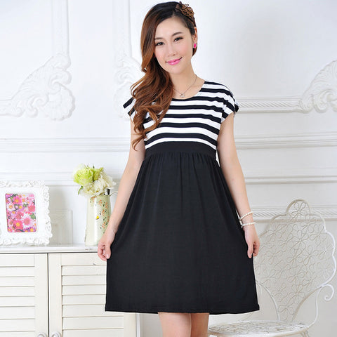 Maternity dress casual cotton maternity clothes plus size ledies stripe Pregnant dresses vestido amarelo YYT026-029