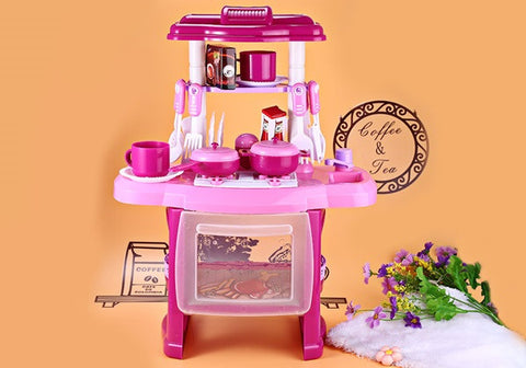 Kids Kitchen set children Kitchen Toys Large Kitchen Cooking Simulation Model Play Toy for Girl Baby