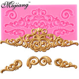Baroque Scrolls Cake Border Silicone Flower Vine Fondant Cake Decorating Tools Cupcake Chocolate Gum Paste Clay Candy Molds