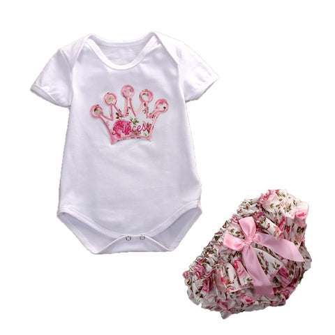 Cute Floral Newborn infant  Kids Baby Girls Cotton Romper Jumpsuit 2Pcs Playsuit Clothes Girls Outfits