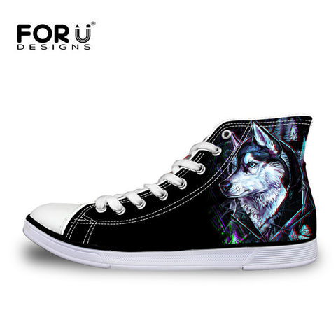 FORUDESIGNS Casual Men's Shoes Fashion 3D Animal Vulcanized Shoes,Cool 3D Tiger Dog Husky Classic Men High Top Canvas Flat Shoes