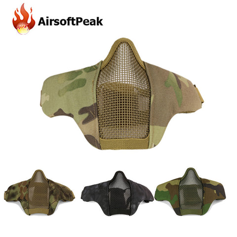 Tactical Paintball Masks Protective Airsoft Mask Outdoor Hunting Half Lower Face Metal Steel Net Mesh Mouth Half Face Mask