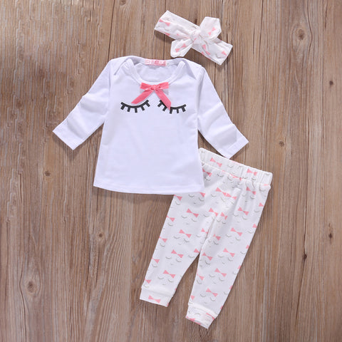 Baby girl clothes Autumn Newborn Baby Girl Clothes Sets 3pcs suits(Top+ Pants+Headband)  Infant girls outfits baby wear clothing