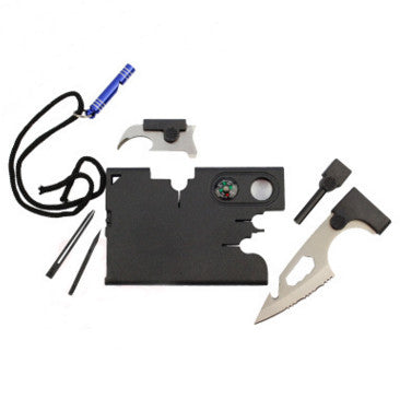 Outdoor Camping Multipurpose Card Tool 11 in 1 Multi-prupose Survival Knife Pocket Army Military Credit Card Knife with Whistle
