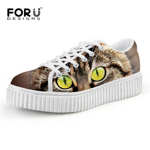 Casual Women Flats Shoes Cute Animal Cat Print Women Creepers Shoes Lace Up Female Ladies Spring Walking Shoes chaussure femme