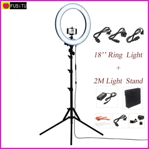 "Fusitu 18"" RL-18 Outdoor Dimmable Photo Video LED Ring Light Kit with 2M Tripod Light Stand for DSLR Camera Smartphones"