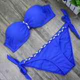 Swimsuit Plus size Bikinis 2017 Swim Set Women Two-Piece Beachwear  Striped Bodysuit Split Female Swimwear Bathingsuit