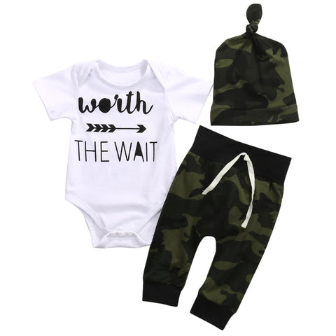 Worth The Wait Newborn Babies letter Clothing Set Infant Baby Boy Girl Bodysui+pants+hats one-pieces Outfits Kids Clothing