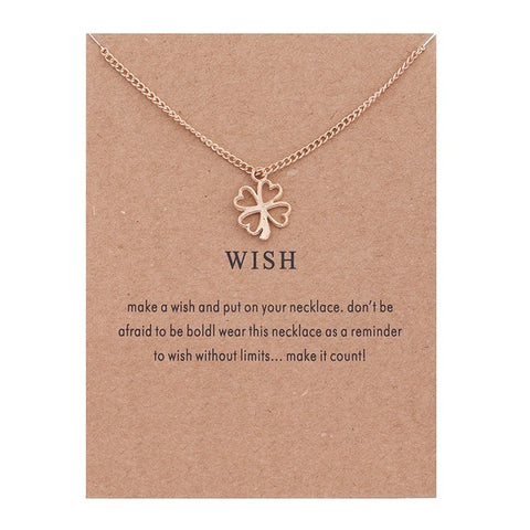 Golden Plated Clover Wish Love Alloy Clavicular Bones Pendant Short Chocker Necklace