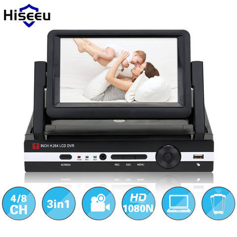 "Hiseeu CCTV 4 Channel 8CH 1080N Digital Video Recorder with 7"" LCD Screen Hybrid DVR HVR NVR Home Security System P2P H.264"