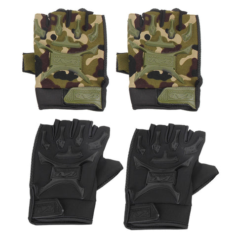 1 Pair Motorcycle Bike Non-slip Gloves Military Tactical Bicycle Short Gloves Cycling Cycle Gel Pad Short Half Finger Gloves