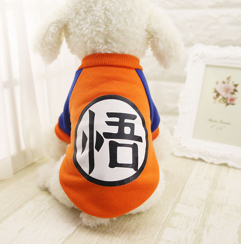 Small Dog Pet Clothes Dragon Ball Goku Sweater T-Shirts Warm Apparel Costume Dog Clothes For Dogs Game Mascot For Chihuahua
