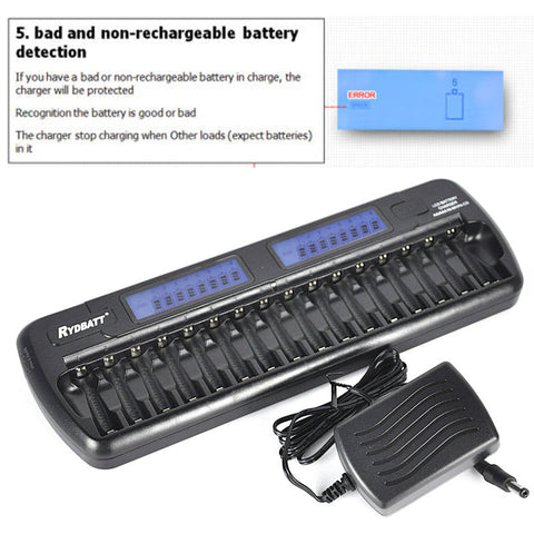 16 slots LCD Built-in IC protection Smart Intelligent Battery Charger AA AAA Ni-MH Ni-Cd 16-bay 16-Bank cargador pilas aa