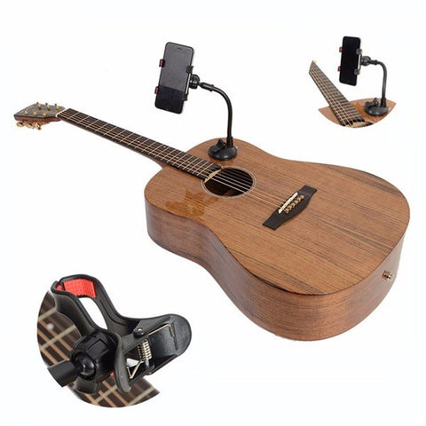 Multifunctional Universal Phone Holder Guitar Sidekick Stand 360 Degree Rotation Guitar Hand Free Mount for Under 6 Inches Phone