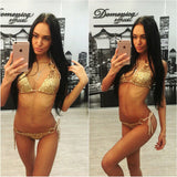 PACENT 2017 New Arrival Sexy Shiny Gold Green Silver Sequins Bikini Thong Set Women's Swimsuit Bandeau Swimwear Plus Size Women