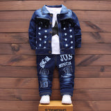 Newborn Denim single breasted 3Pcs/set (coat+t shirt +jeans) bebes Baby boy Newborn baby clothes full Sleeve Baby boy Clothes
