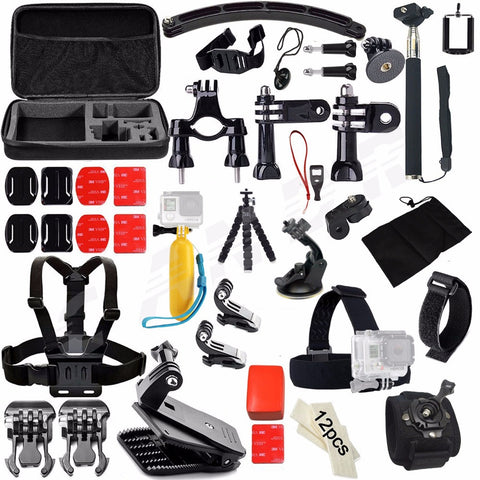 Action Camera Accessories Set Kit for Gopro hero 4 5 Chest Clamp Hand Mount Large Bag Car Adapter For Go pro SJCAM SJ4000  48