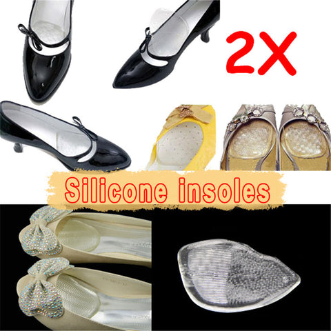 Cheap Sale !!! 1 Pair Silicone Gel Elastic Cushion Insoles Protect Comfy Feet Palm Care Shoe Pad Pads #7
