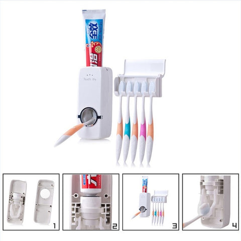 Automatic Toothpaste Dispenser +Toothbrush Holder Can hold 5 Toothbrush Wall Mount Stand Bathroom Tools for Home Bathroom