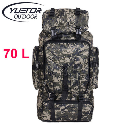 YUETOR 70L Men Camping Waterproof Travel Military Army Bags Outdoor Sport Molle Tactical Rucksacks Camouflage Hiking Backpacks