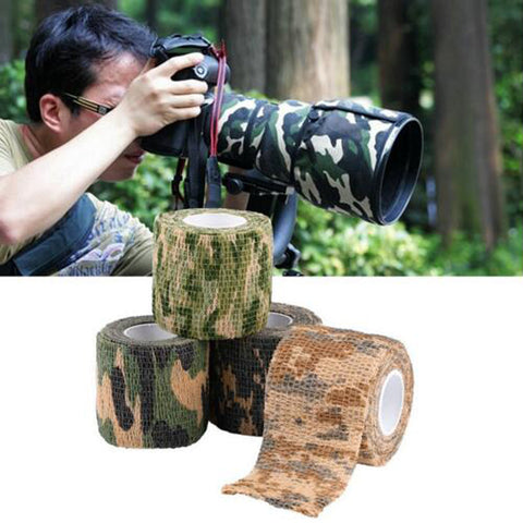 1 Roll 5cmx4.5m Camo Stretch Bandage Rifle Gun Camouflage Adhesive Tape Outdoor Military Airsoft Paintball Hunting Accessory