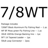 1/2/3/4/5/6/7/8WT Black Fly Reel and Line Combo Large Arbor Aluminum Fly Fishing Reel WF Fly Line Backing Line Tapered Leader