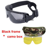 X800 Military Goggles 3 Lenses Tactical Army Sunglasses Paintball Airsoft Hunting Combat Tactical Glasses