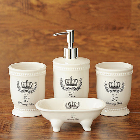 New Arrival UK Style New Fashion Crown Printing High Quality 4pcs Bathroom Set Gift Box Packing Ceramic Bathing Suit Bottle Hot
