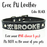 Bling Dog Cat Pet Personalized Leather Name Collar Chihuahua Yorkie Dachshund French Bulldog Boston Terrier Labrador Husky Boxer