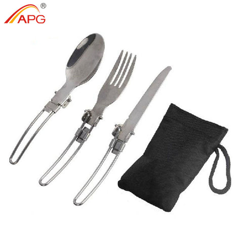 APG Portable Folding Spoon Fork 3 in 1 Camping Survival Set Outdoor Camping Picnic Tableware with Bag