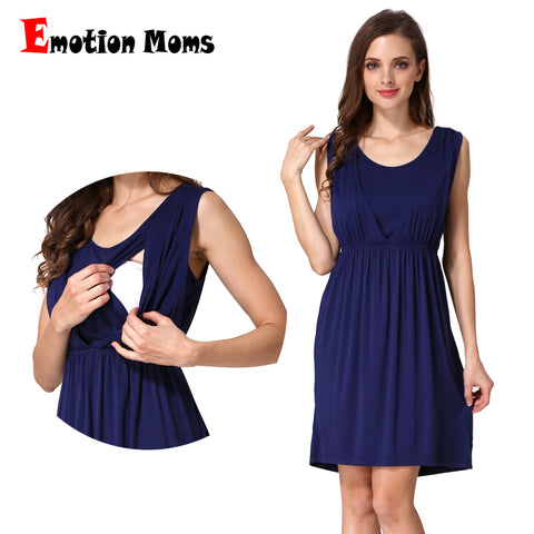 Emotion Moms Summer maternity Clothes Breastfeeding dress Sleeveless Maternity Dresses For Pregnant Women Nursing Vest skirt
