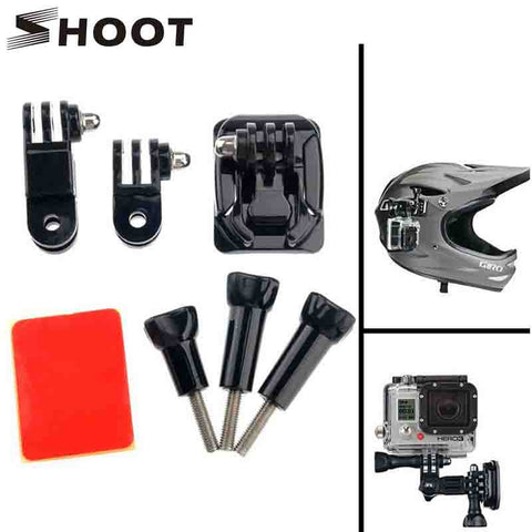SHOOT Gopro Helmet Mount Curved Base and 3 Way Pivot Arm Screw For Gopro Hero 5 4 3 Session Xiaomi Yi 4K SJCAM SJ4000 Accessory