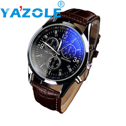Millky Stars  YAZOLE Watch Men  Luxury Faux Leather Blue Ray Glass Quartz Analog Wristwatches 17mar23