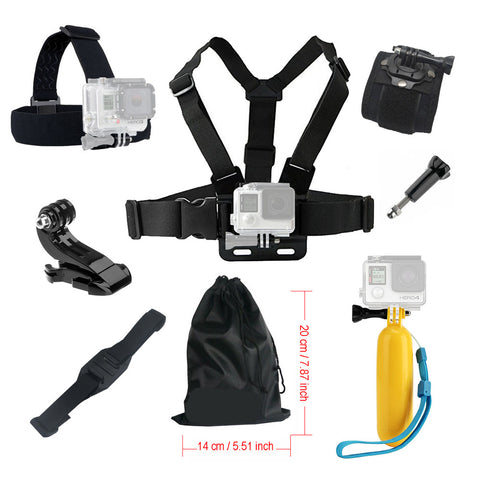 For Gopro hero 4 5 Accessories set Floating Chest Head Hand Helmet Mount strap for Go pro SJCAM SJ4000 SJ5000X Action camera 52