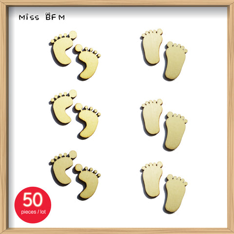 (50pcs/lot) Blank Footprint Wooden Crafts Embellishments Scrapbooking Invitation Card Wood Baby Shower DIY Decoration