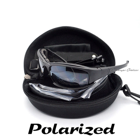 Polarized Daisy X7 Army Sunglasses, Military Goggles 4 Lens Kit, War Game Tactical Outdoor Men's Glasses
