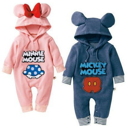 Autumn Cartoon Baby Rompers Long Sleeve Hooded Cotton Baby Jumpsuits Toddler Kids Costumes Cute Bowknot Baby Girls Clothing Sets