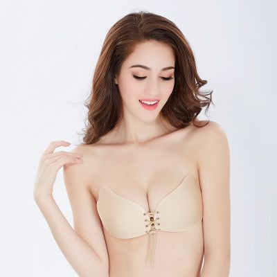 Invisible Bra soutien gorge bralette Women Self Adhesive Strapless Bandage Stick Gel Silicone Push Up 1/2 Cup Cotton Drawstring
