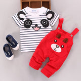2017 Toddler Infant Newborn Summer Baby Girls Boy Clothes Short Sleeve Bear Overalls Suit Outfits 2pcs