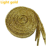 1 pair Shiny Gold and Silver thread Sport Sneakers Flat Shoelaces Bootlaces Shoe laces Strings