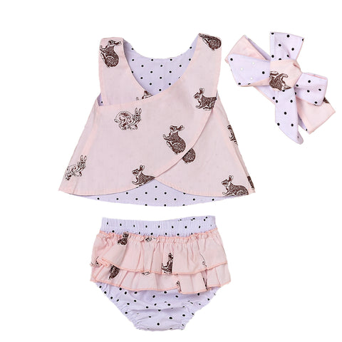 3PCS Toddler Baby Kids Girl Clothing Tops Summer Top Bunny Sleeveless Shorts Bottoms Headband Outfit Clothes Set Baby Girls