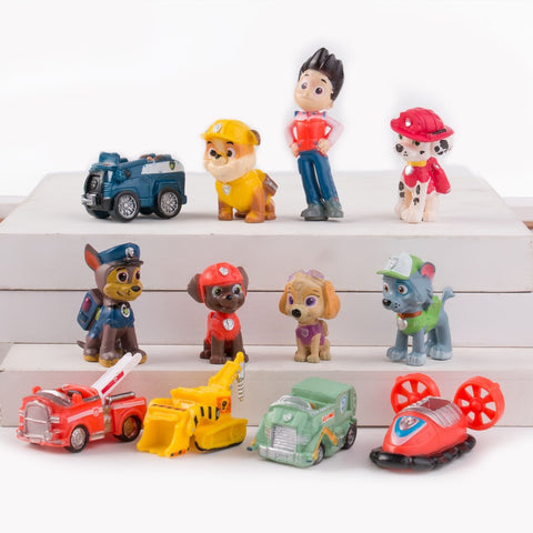 12pcs/set Canine Patrol Dog Toys Russian Anime Doll Action Figures Car Patrol Puppy Toy