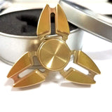Pattern Hand Spinner Brass Fidget Spinner And DHD Children Adults Kids Toy Cool Gold Tri-Spinner Fidget Toy