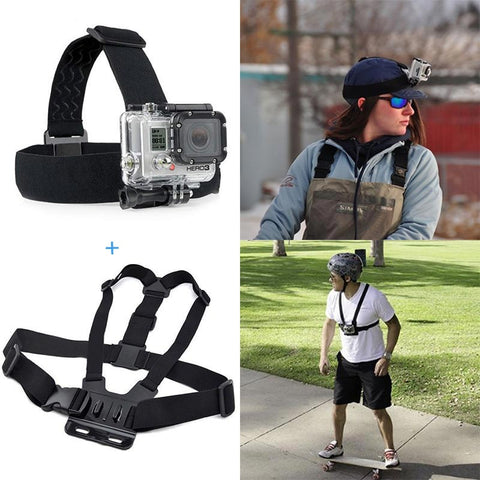 For Action camera Gopro Accessories Head Strap Chest Harness Mount For Gopro Hero5 3 3+ 4 SJ4000 xiaomi yi 4K EKEN H9 Action Cam