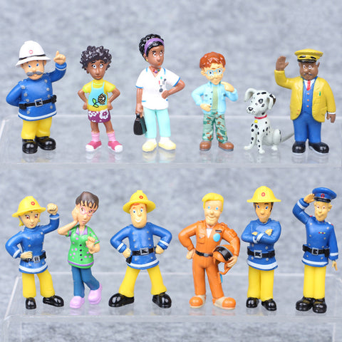 12 Pcs/Set Fireman Sam Action Figure Toys 3-6cm Cute Cartoon PVC Dolls For Kids Christmas Gift Fireman Sam Toys For Children