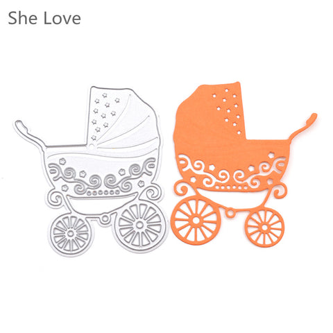 She Love Metal Baby Stroller Embossing Cutting Dies Stencil Scrapbooking Decorative DIY Craft