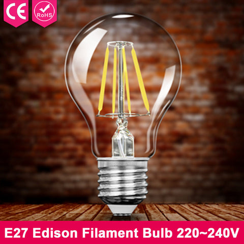 E27 Retro LED Filament Light Bulb 2W 4W 6W 8W 220V G45 A60 Clear Glass Vintage Edison Led Lamp Holiday Light For Home Decor 240V