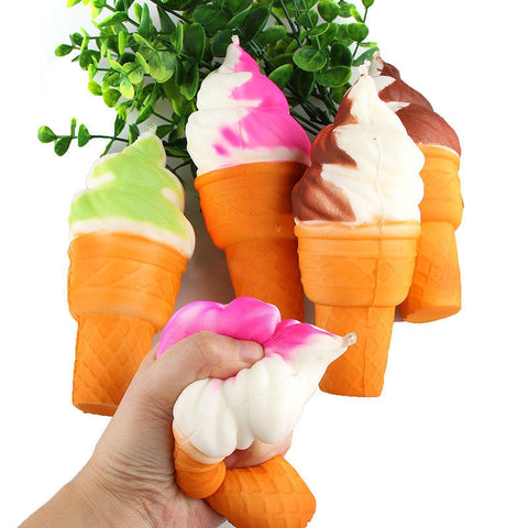 10cm Cute Soft Jumbo Ice Cream Cone Squishy Slow Rising Cell Phone Straps Bread Antistress Scented Key Pendant Charms Kids Toys