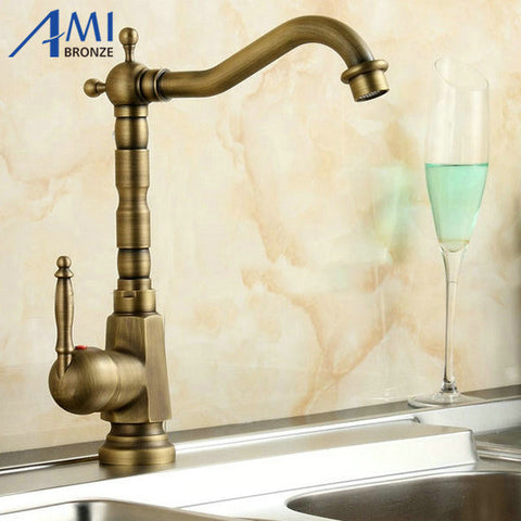 Home Improvement Accessories Antique Brass Kitchen Faucet 360 Swivel  Bathroom Basin Sink Mixer Tap Crane 9062A