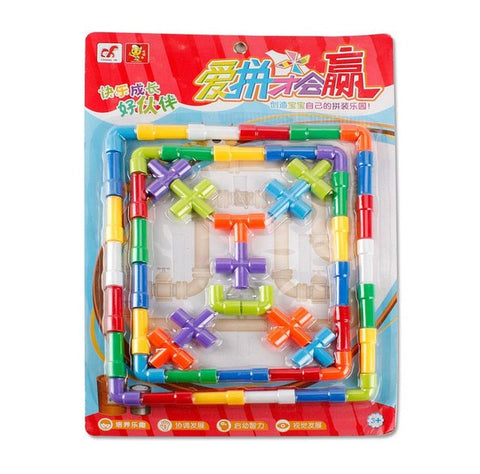 52PCS Baby Kids Pipeline Tunnel Block Model Toy Kids DIY Assembling 3D Water Pipe Building Blocks Educational Toy for Children